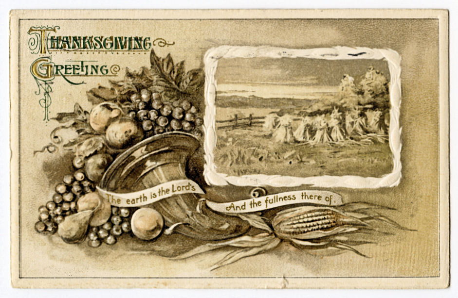 vintage thanksgiving cornucopia sepia illustration
