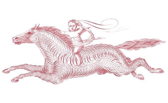 spencerian horse cherub vintage clipart