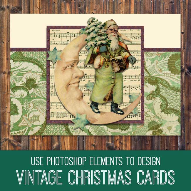 PSE Tutorial Design Vintage Christmas Cards