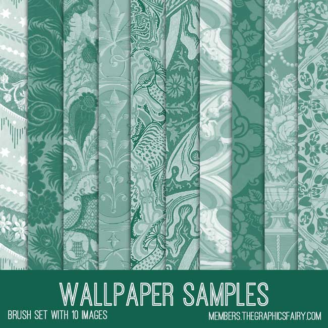 vintage wallpaper samples ephemera brush set