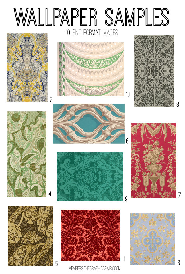 vintage wallpaper samples ephemera digital image bundle