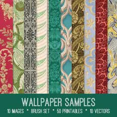 vintage wallpaper samples ephemera bundle