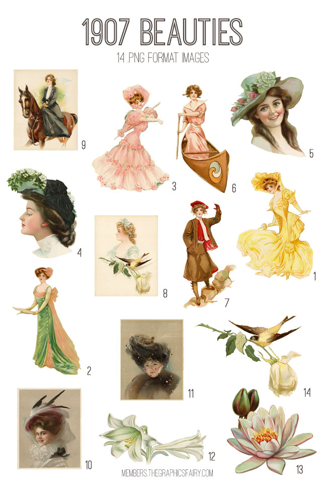 vintage 1907 Beauties ephemera digital image bundle