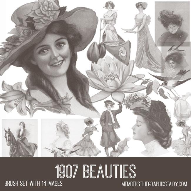 vintage 1907 beauties ephemera brush set