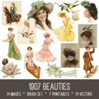 vintage 1907 Beauties ephemera Bundle