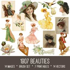 vintage 1907 Beauties ephemera Bundle