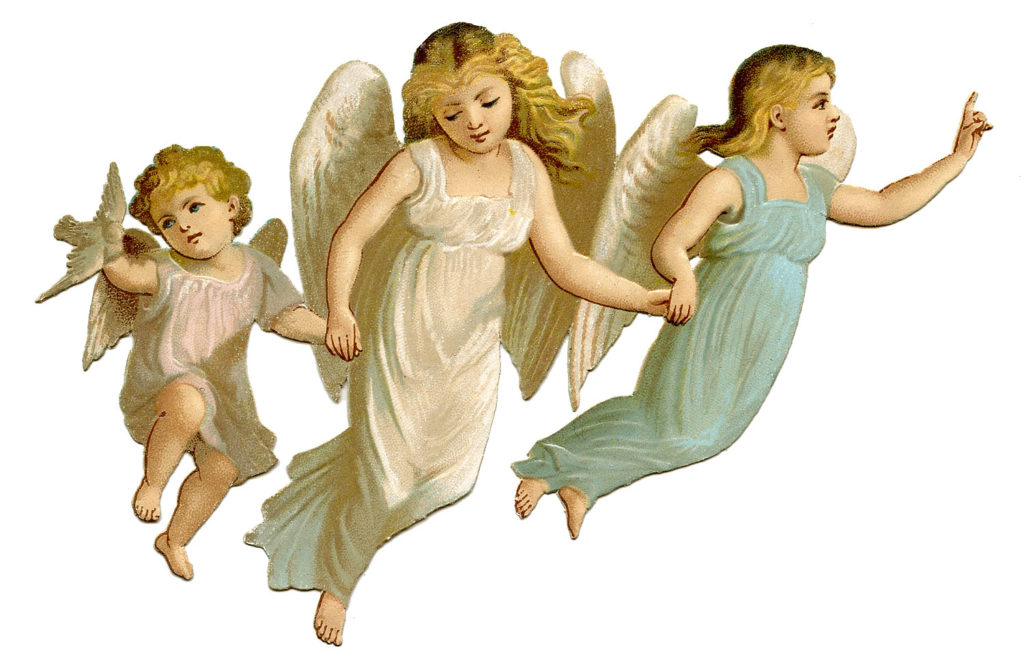 angel children flying clipart
