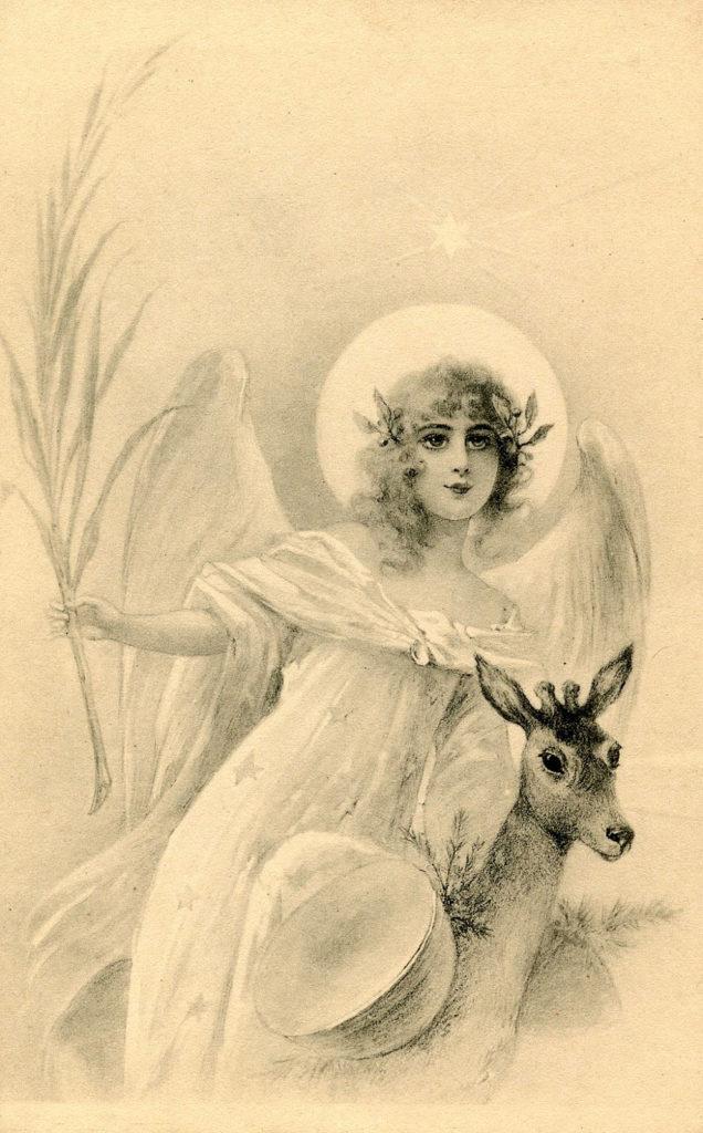 vintage sepia angel deer image