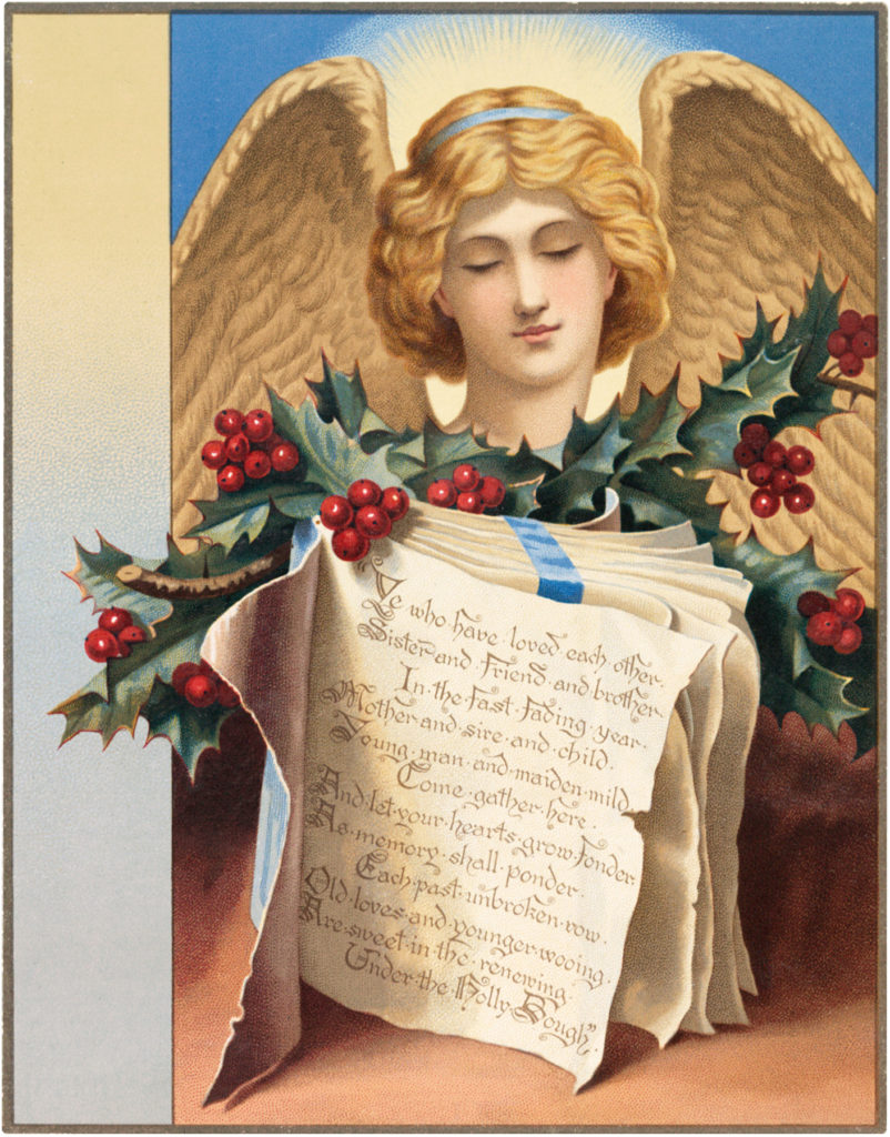 angel Christmas book holly image