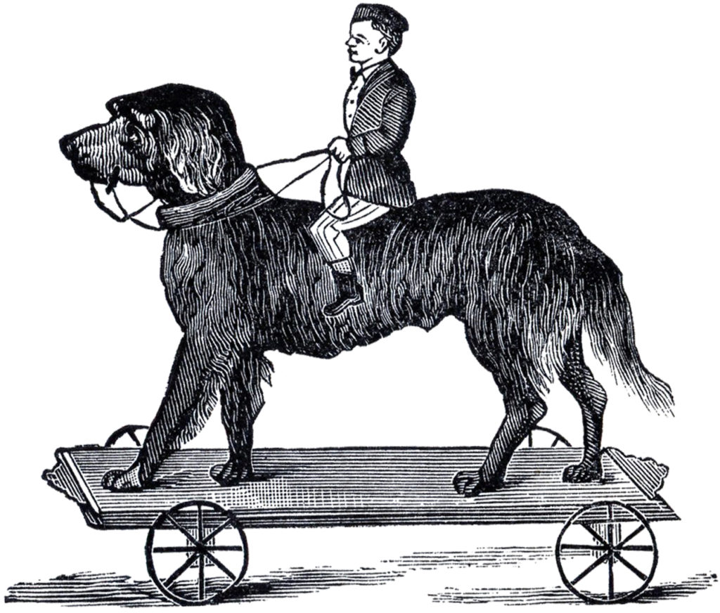 vintage pull toy man riding dog clipart