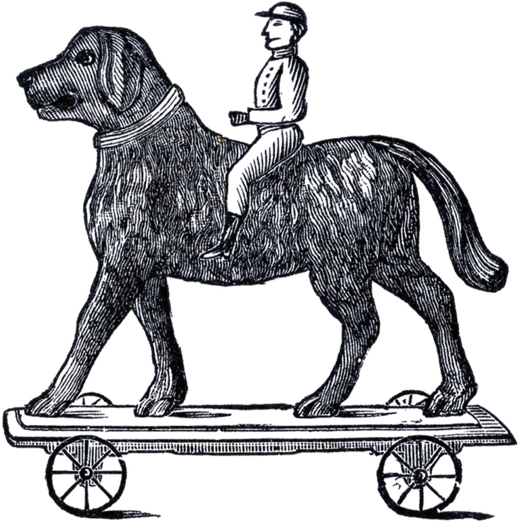 antique pull toy black white illustration
