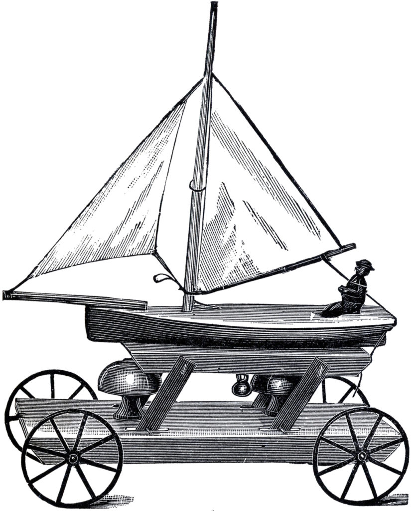 antique pull toy sailboat image