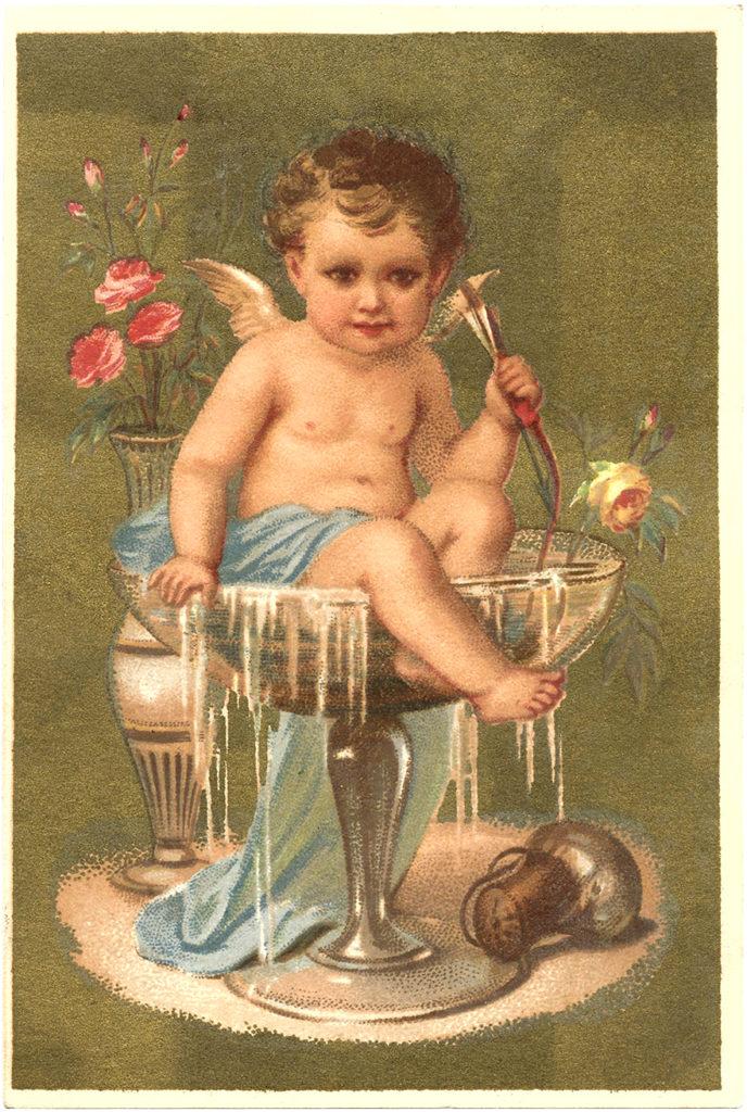 champagne cherub flowers vintage image