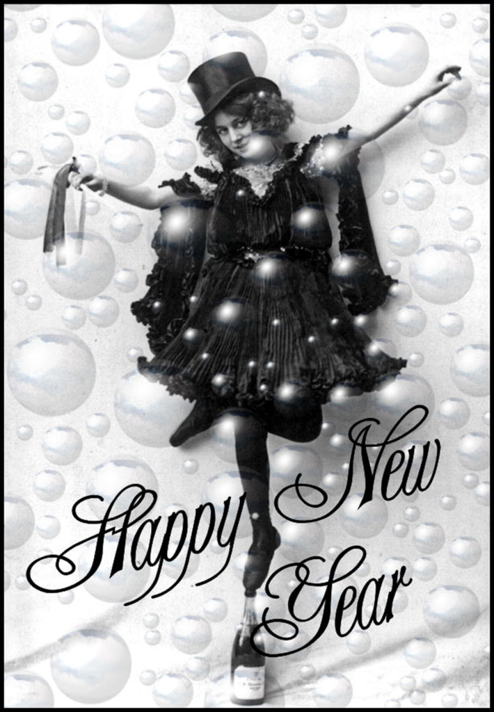 champagne girl bubbles vintage new year photo clipart