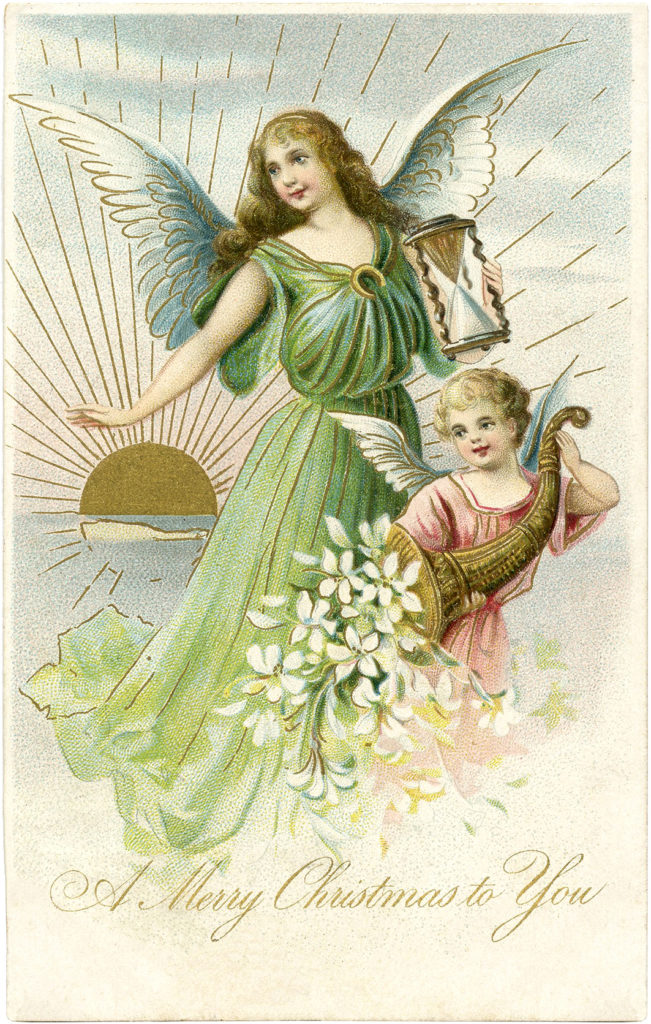 vintage angel child sun image