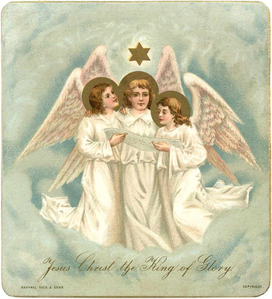 Christmas angels wings clouds star image