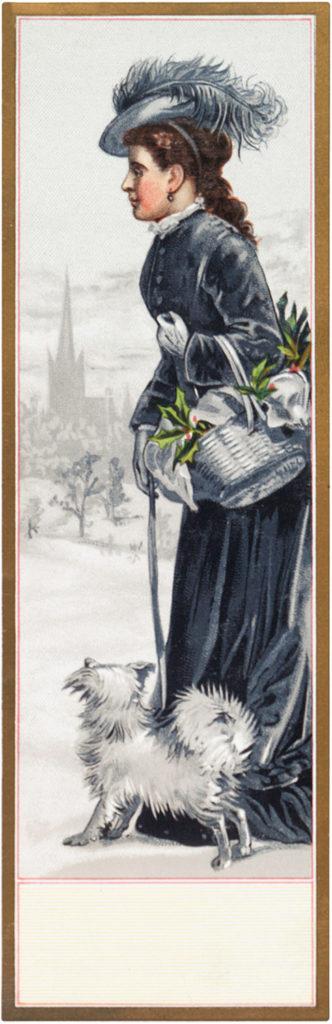 Christmas basket lady dog vintage illustration