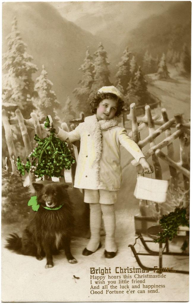 Christmas Girl with Dog Image