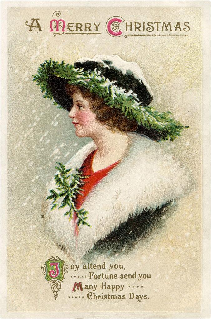 Christmas Hat Lady Image