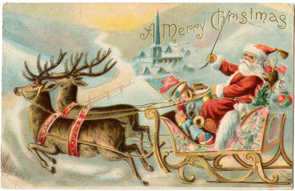 Christmas Images Santa Sleigh