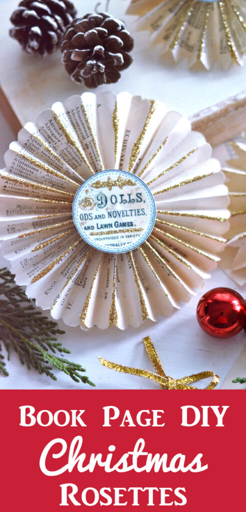 DIY Christmas Book Page Rosettes