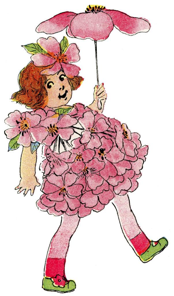 flower fairy pink girl clipart