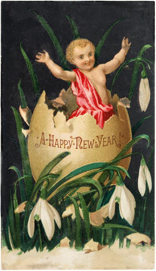 New Year cherub egg clipart