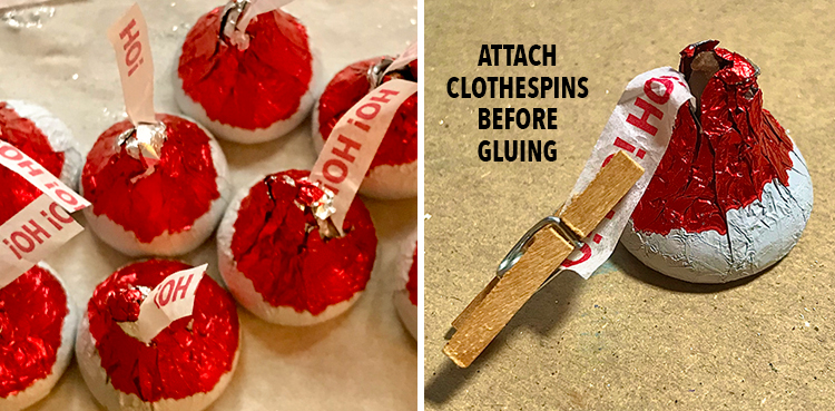 Attaching Clothespins to Kisses
