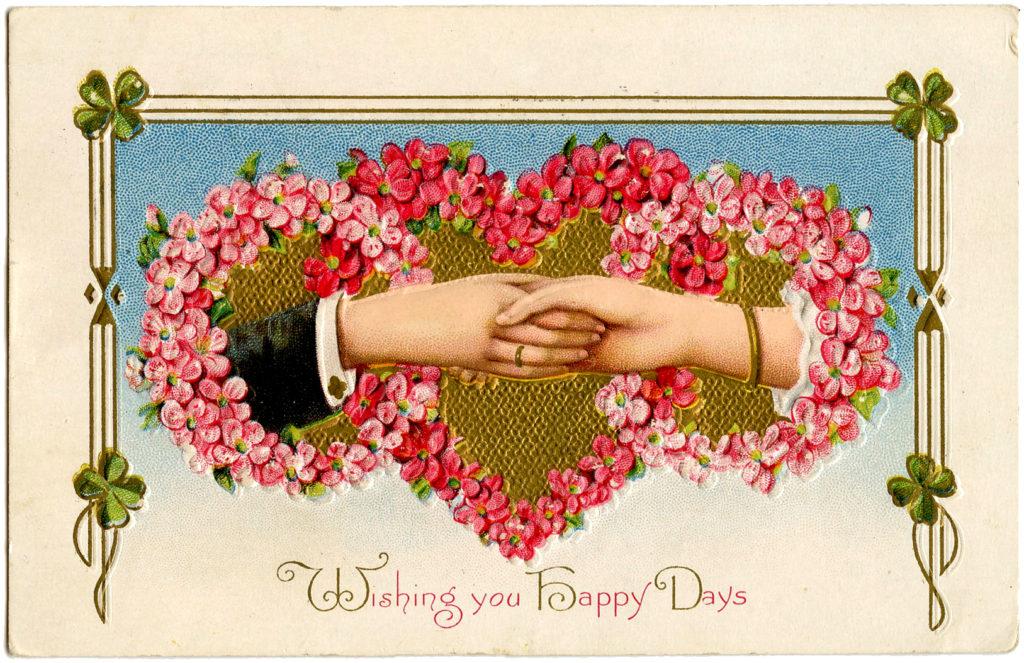 hands handshake valentine vintage heart image