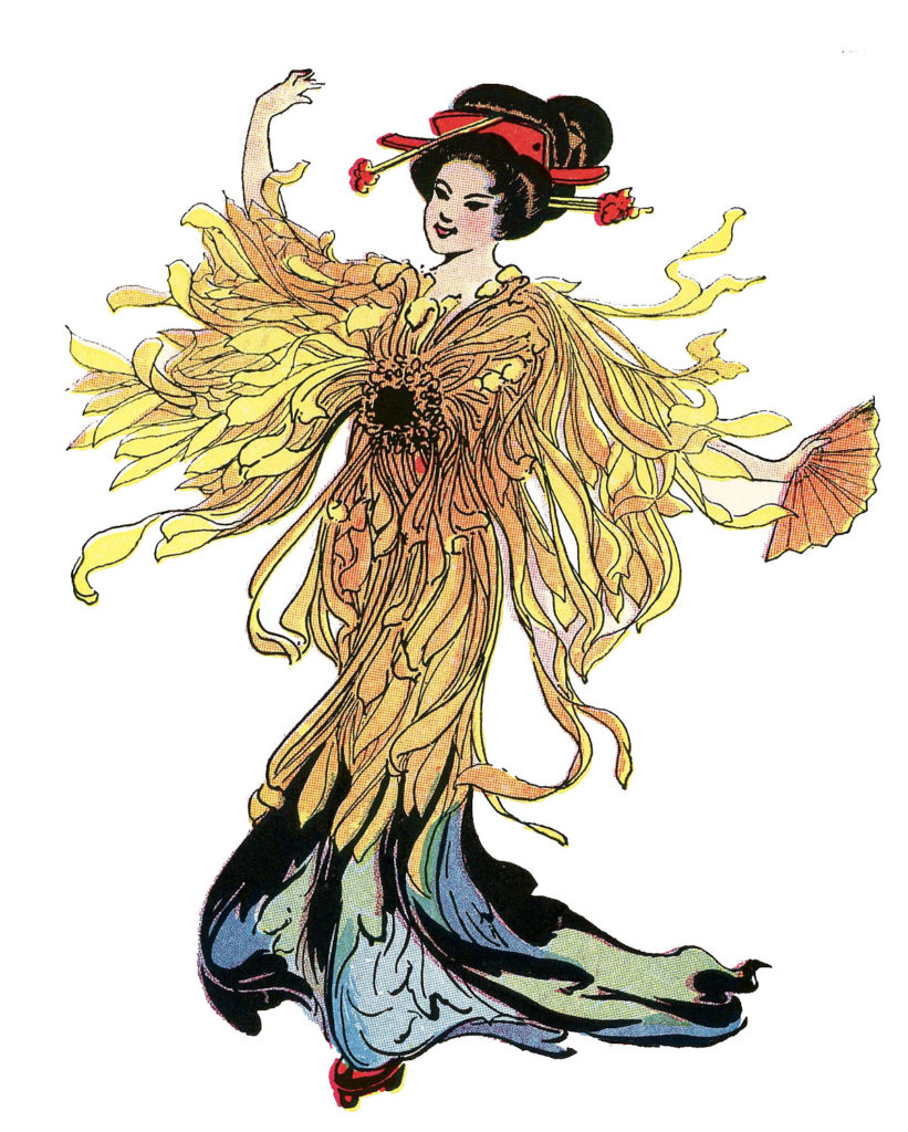 japanese flower fairy yellow gold image