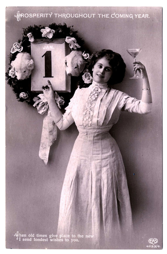 new year vintage lady champagne victorian photo image