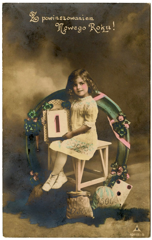 new years girl horseshoe vintage image