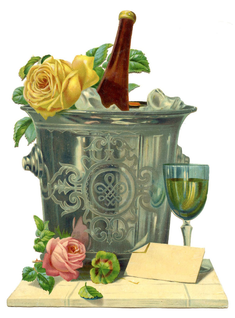 new year champagne bucket flowers image