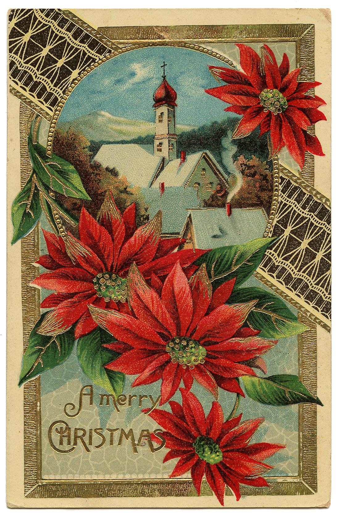 Poinsettia Church Christmas Image