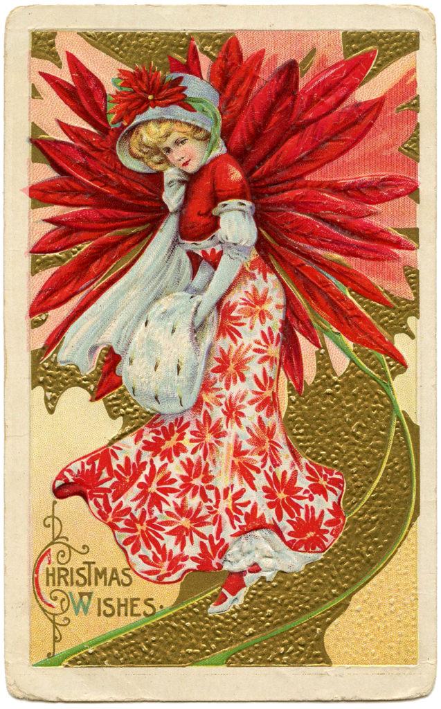 poinsettia lady vintage illustration