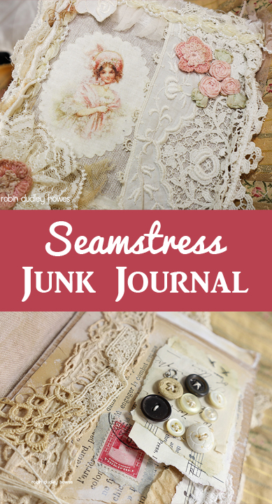 Seamstress Junk Journal Pin