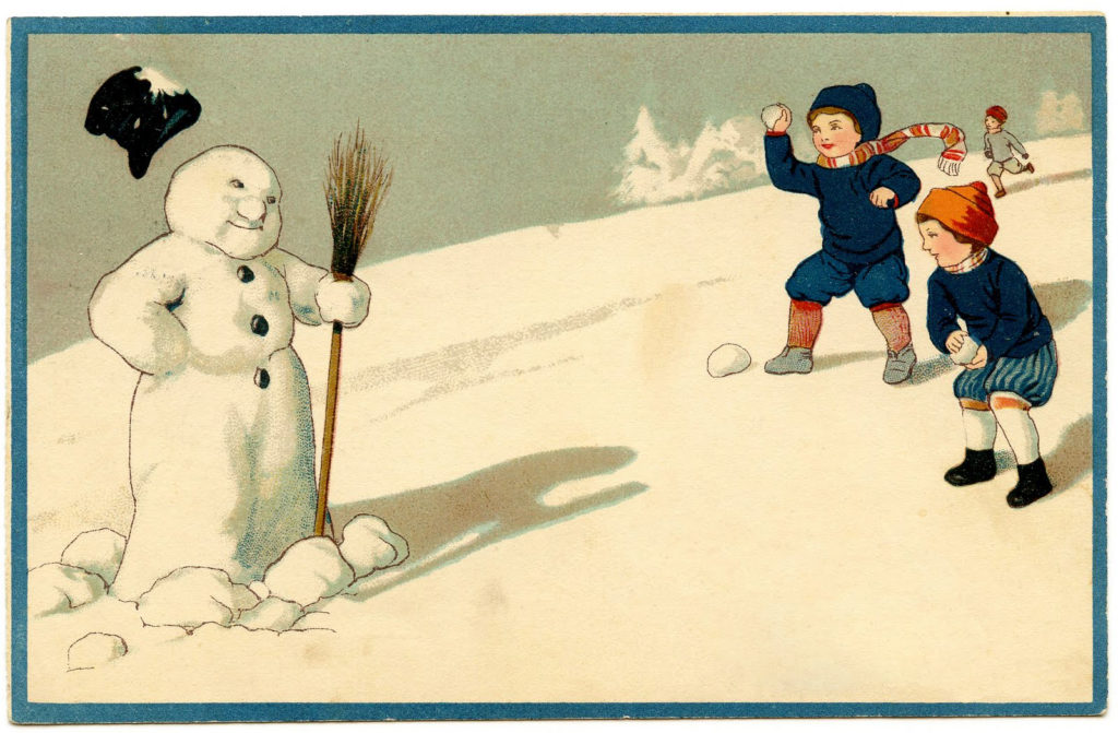 Snowball Fight with Snowman