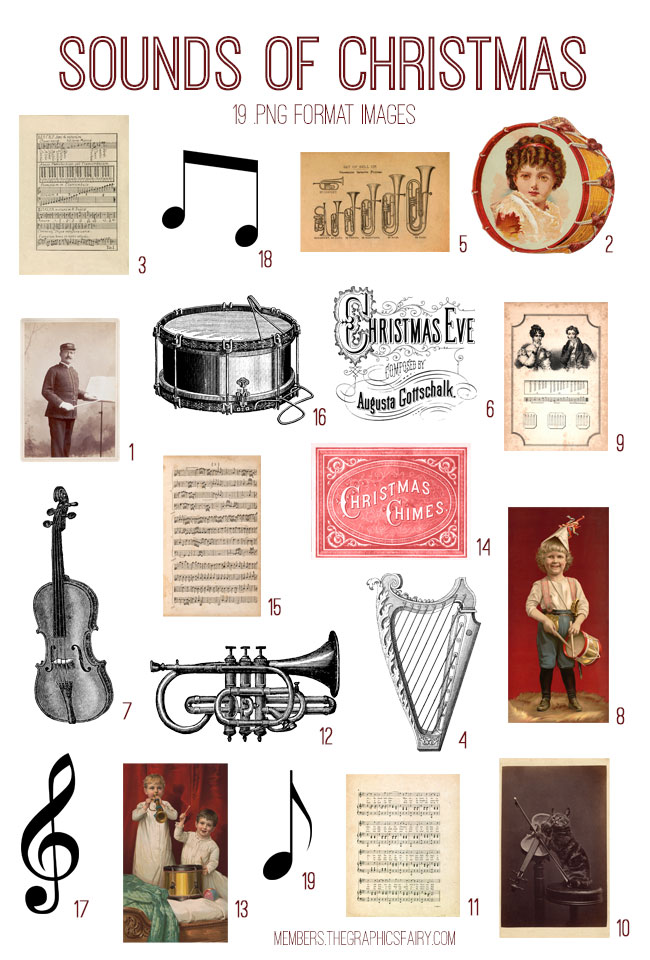 vintage sounds of Christmas ephemera digital image bundle
