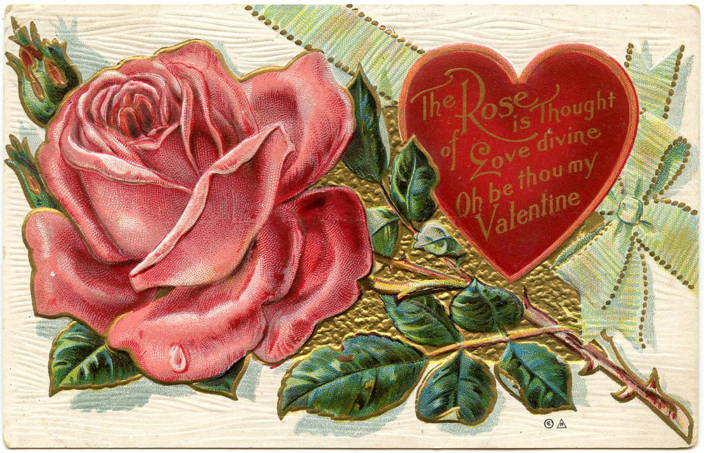 valentine rose heart vintage image