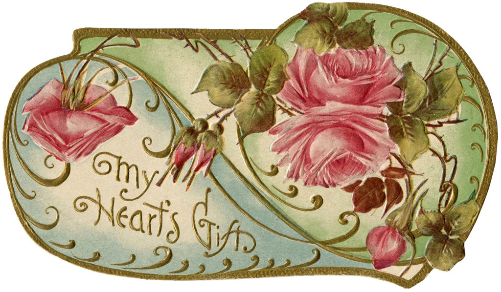victorian roses valentine typography illustration