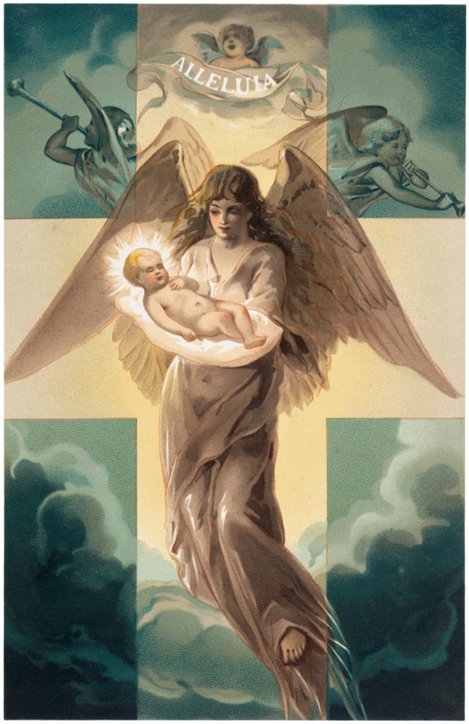vintage angel baby heaven clouds image