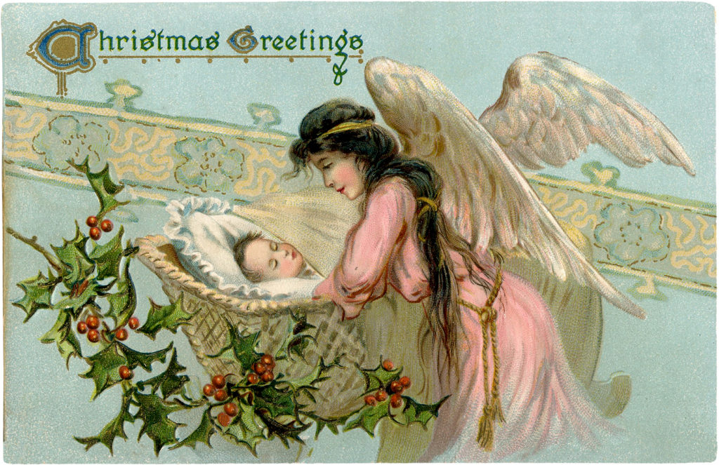 vintage angel baby Christmas holly clipart