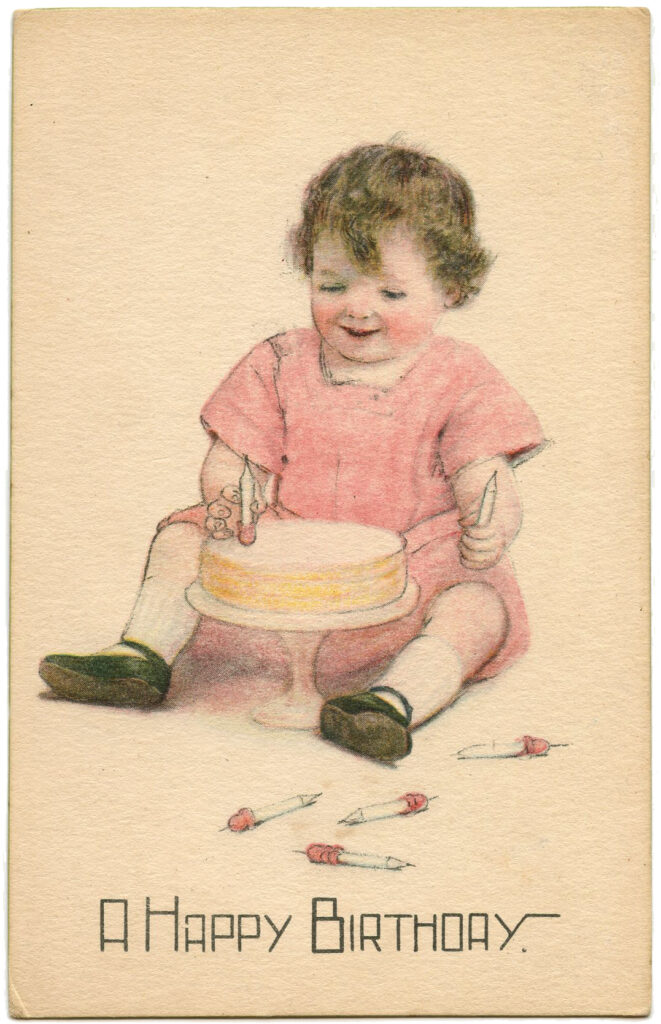 Vintage Birthday Cake Image with Toddler