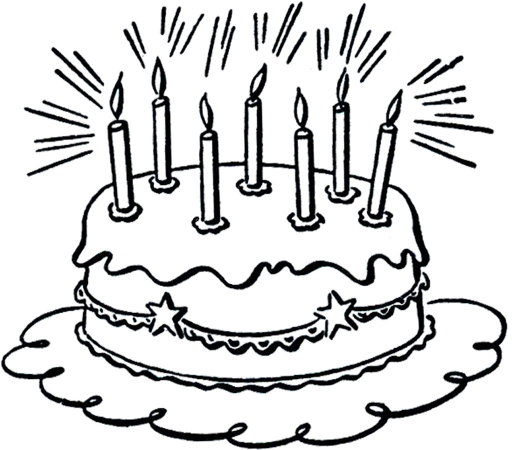 birthday cake candles black white clipart