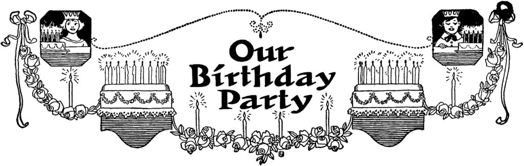 vintage birthday party cakes candles clip art