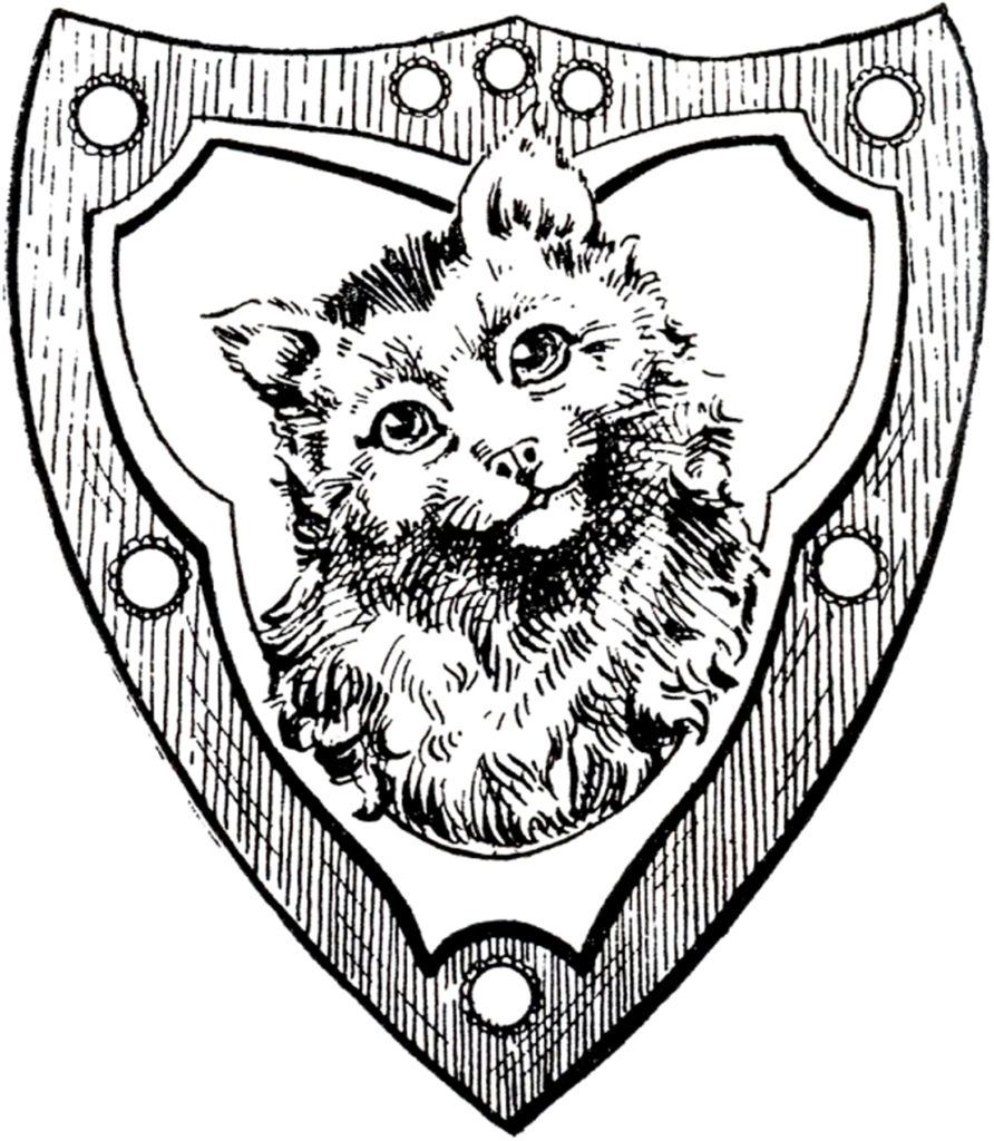 vintage cat shield image