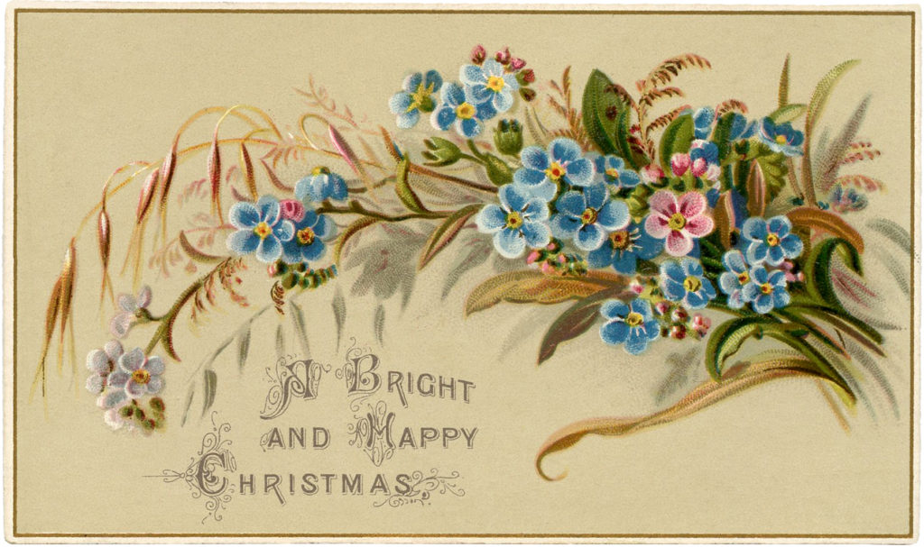 vintage floral spray blue Christmas illustration