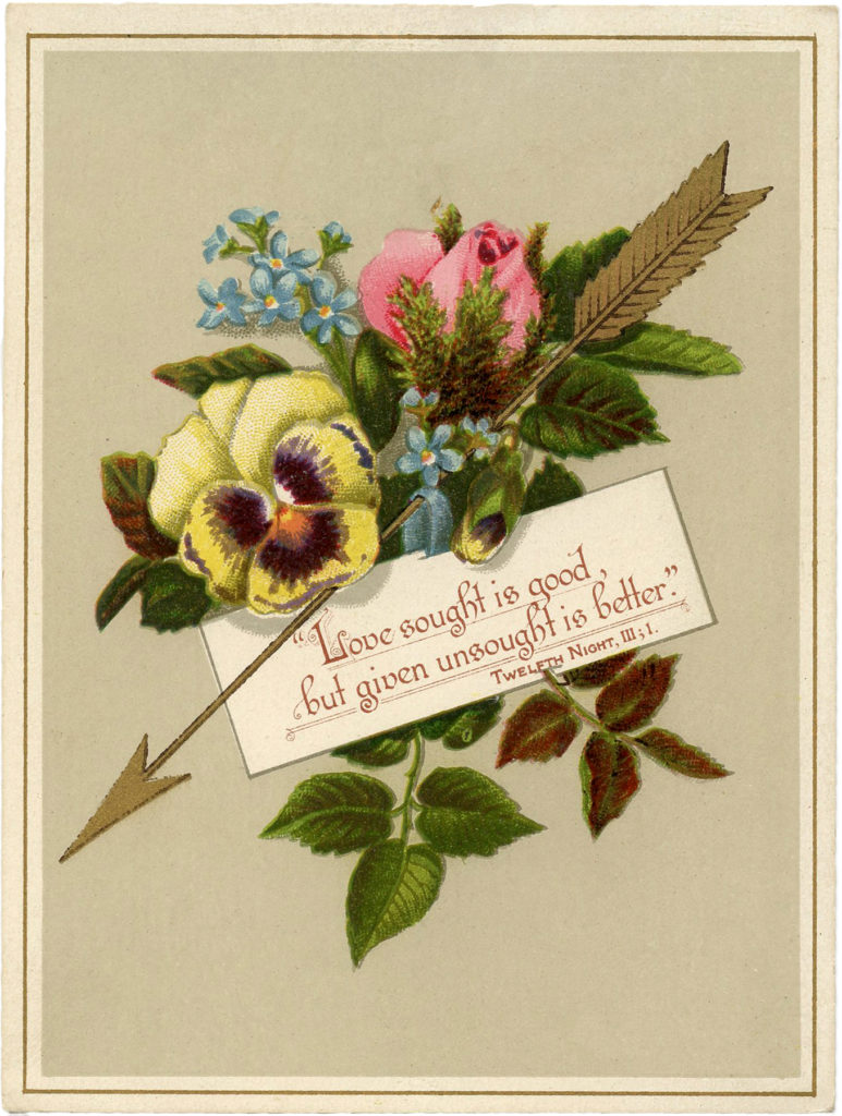 vintage golden arrow valentine heart image