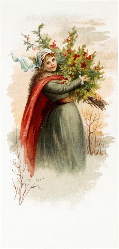 vintage lady greenery illustration