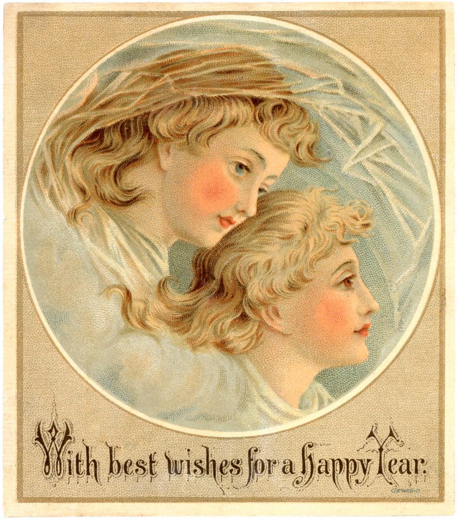 vintage New Years angel illustration